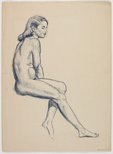 Alternate image of recto: (Standing female nude) verso: (Seated female nude) by Roland Wakelin