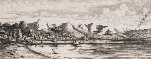 An image of Seine, fishing off Colloer's Point, Akaroa, Banks Peninsula, 1845 Akaroa. by Charles Meryon