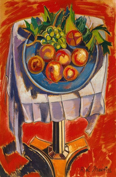 An image of Still life (peaches) by Roy de Maistre