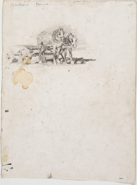 An image of recto: Lorry horses verso: Two pairs of lorry horses, one a white pair by Lloyd Rees