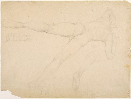 An image of (Male nude reclining; foot and leg studies) (Student studies) by William Dobell