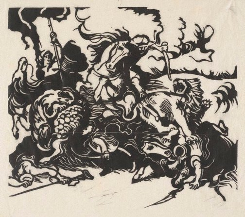 An image of Lowenjagd nach Delacroix  woodcut print, by Franz Marc