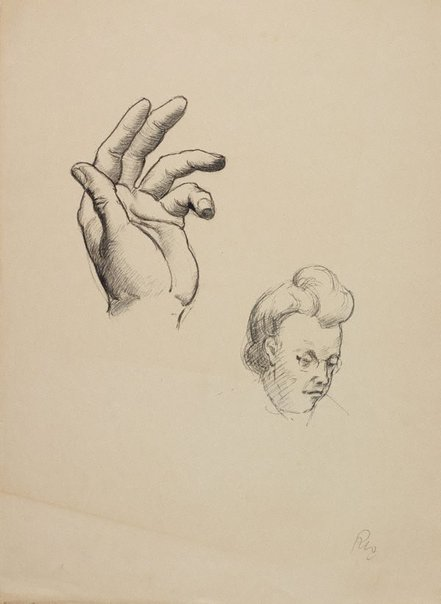 An image of (Hand study and womans head) by Roland Wakelin