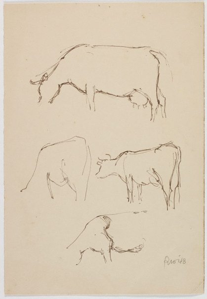 An image of recto: (Cow studies) verso: (Studies of a cow and seated male figure) by Roland Wakelin
