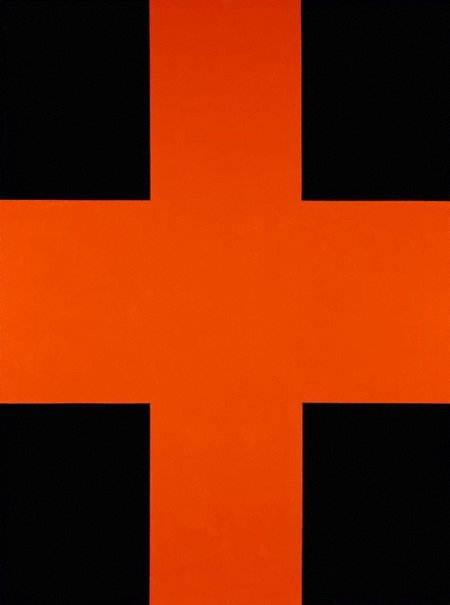 An image of Black and orange cross by John Nixon