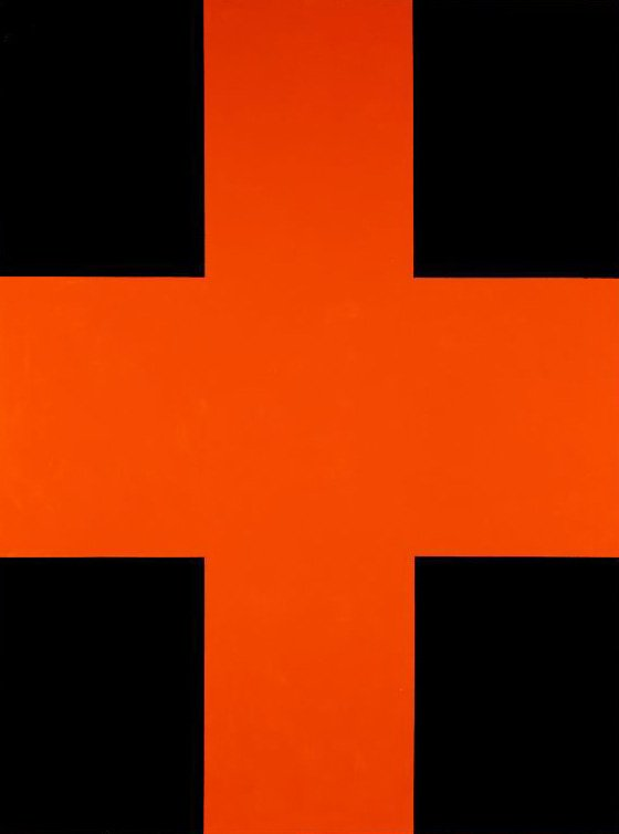 An image of Black and orange cross