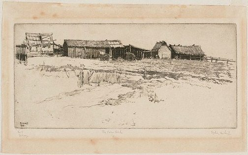 An image of The farm sheds by Sydney Ure Smith