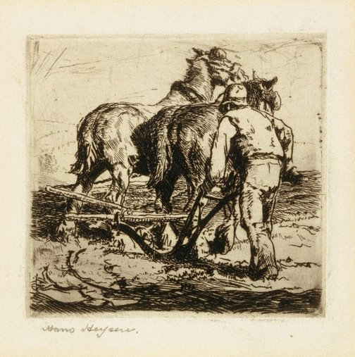 An image of Turning the plough by Hans Heysen