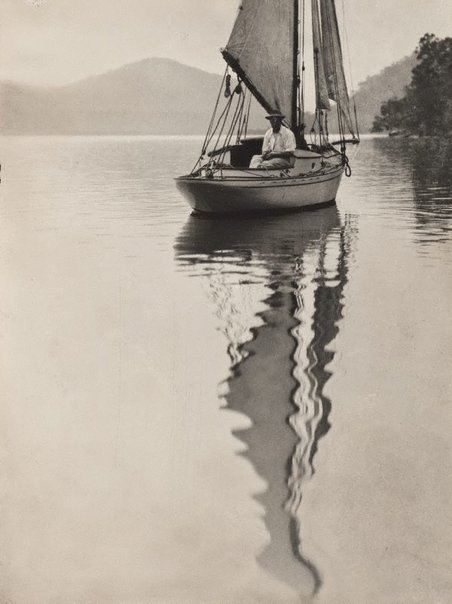 An image of George Malteby on yacht (Hawkesbury River) by Norman C Deck