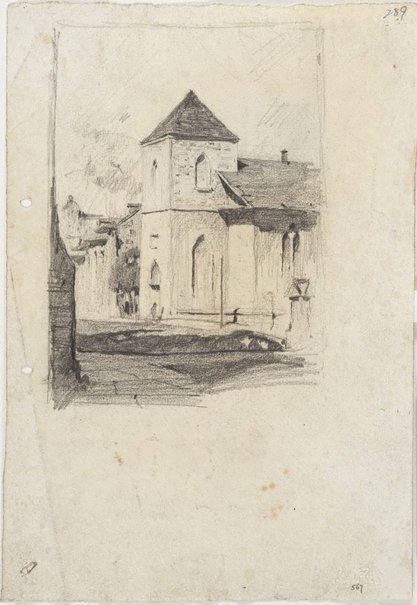 An image of recto: Scots Kirk on Church Hill verso: A gabled house by Lloyd Rees