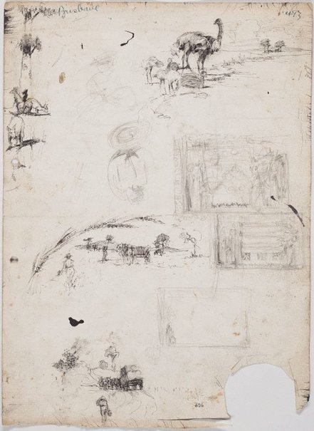 An image of recto: Small country scenes, emus and kangaroos verso: French building and Buildings and plans by Lloyd Rees