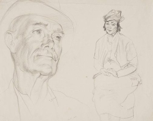 An image of (Two life studies: head of man in hat & seated woman with hands clasped) by Mary Abbott