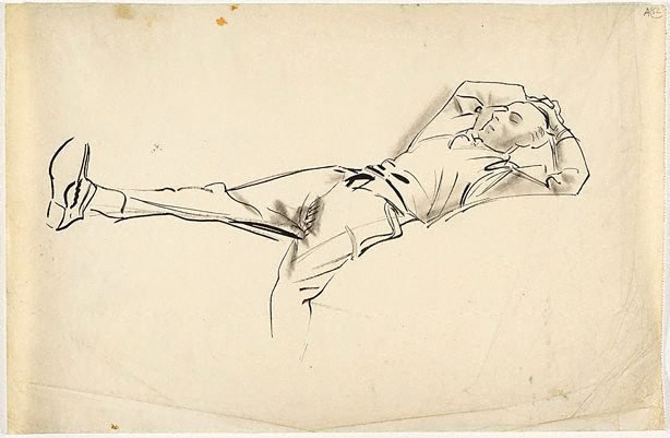 An image of (Male figure reclining) (Student studies)