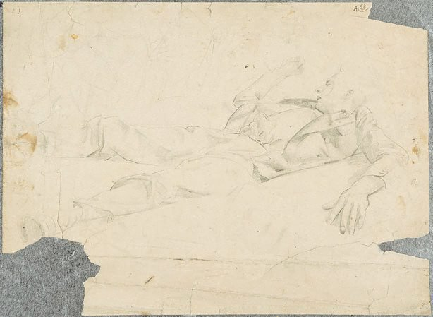 An image of (Male figure sleeping) (Student studies)