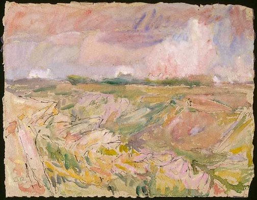An image of Landscape with houses in distance by John Peter Russell