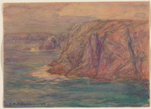 An image of Cliffs, Belle Ile by John Peter Russell