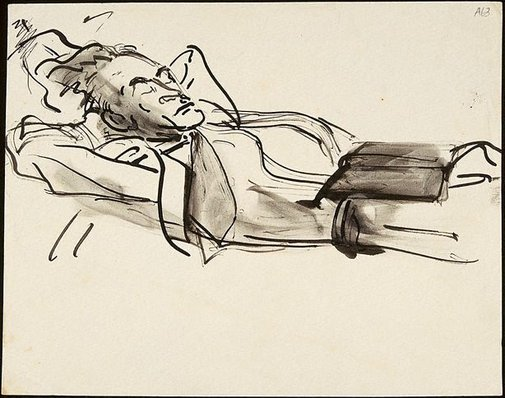 An image of (Male figure reclining) (Student studies) by William Dobell