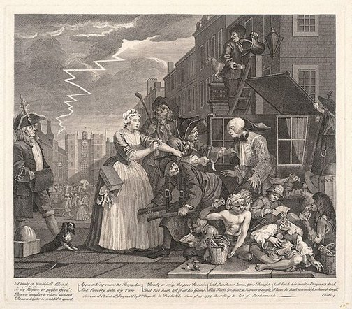 An image of A rake's progress: plate 4 by William Hogarth