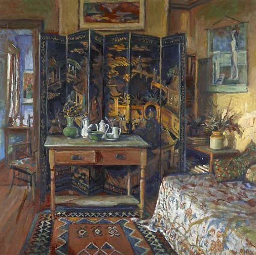 An image of Chinese screen and yellow room by Margaret Olley