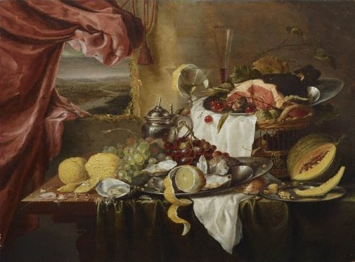 An image of Still life with imaginary view by Laurens Craen