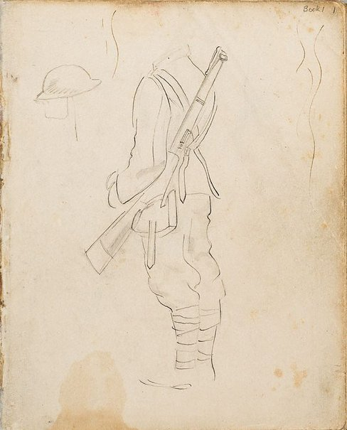 An image of (Soldier's uniform study) (London genre) by William Dobell