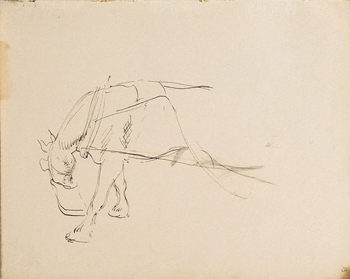An image of (Horse in harness with feed bag) (London genre) by William Dobell
