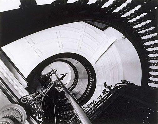 An image of Stairway and lift shaft in old CSR head office, Sydney by Max Dupain