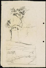 An image of (four drawings on folded sheet) recto: Tree on a bank and water with footbridge [left] Portion of the roof of Sydney Town Hall [right] verso: Statue of Dr John Dunmore Lang in Wynyard Park [left] Harbour boathouse and Harbourside building with trees [right] by Lloyd Rees