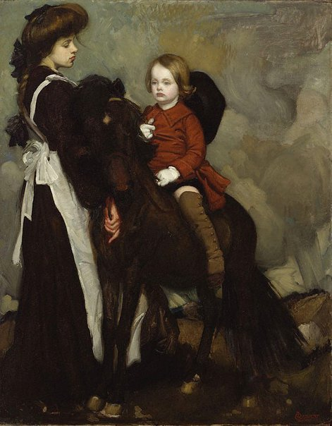 An image of Esquestrian portrait of a boy by George W Lambert