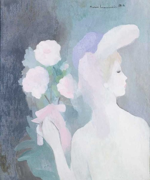 An image of Woman with bouquet by Marie Laurencin
