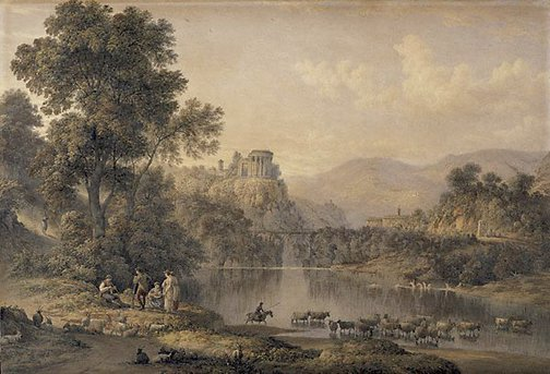An image of The Temple of Sibyl at Tivoli by John Glover