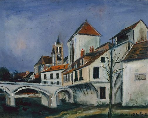 An image of Bridge and church by Maurice Utrillo