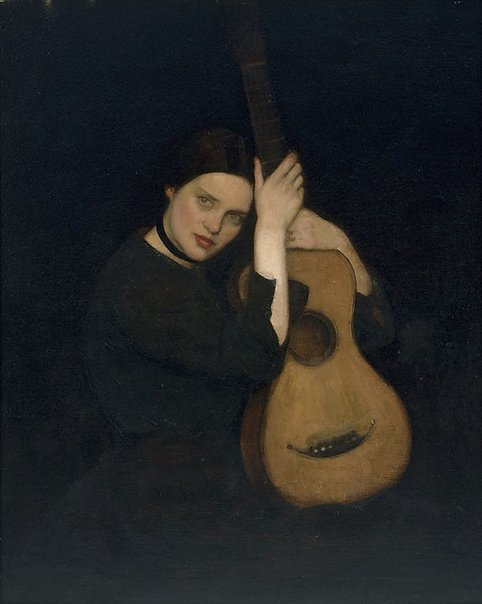 An image of La guitariste by George W Lambert