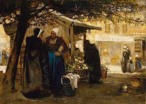 An image of Market-place, Bruges by Flora MacDonald Reid