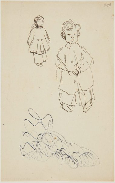 An image of (Studies of little boy with coat) (London genre) by William Dobell