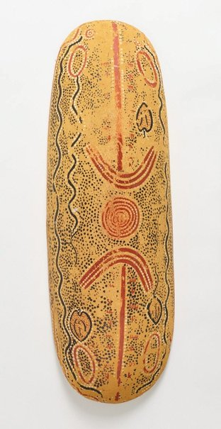 An image of Wallaby and yam dreaming (Coolamon) by Billy Stockman Tjapaltjarri