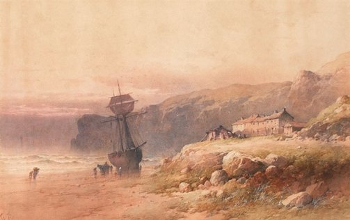 An image of On the coast of Cornwall (fishing village) by Edward William Cooke