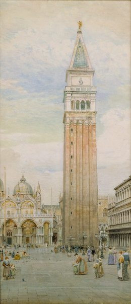 An image of Last days of the Campanile, St. Mark's, Venice by E. Wake Cook