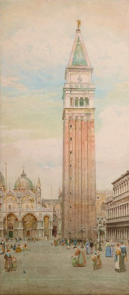 An image of Last days of the Campanile, St Mark's, Venice by Ebenezer Wake Cook