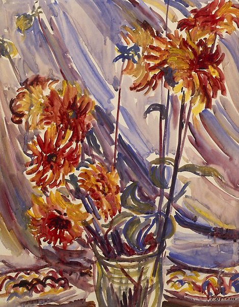 An image of Dahlias in a glass vase by Sir Jacob Epstein
