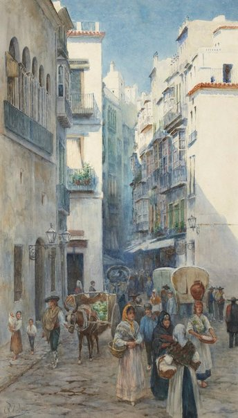 An image of A street in Valencia by Charles Nathaniel Worsley