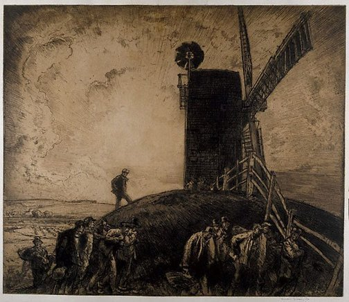 An image of The black mill, Winchelsea by Sir Frank Brangwyn