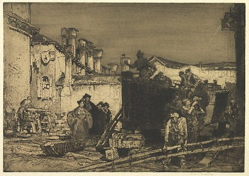 An image of The boatyard, Venice by Sir Frank Brangwyn