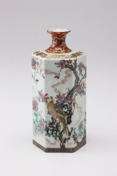 An image of Hexagonal bottle with bird and flower design by Kutani ware