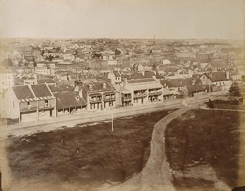 An image of Upper Fort Street from Observatory Hill by attrib. Charles Bayliss