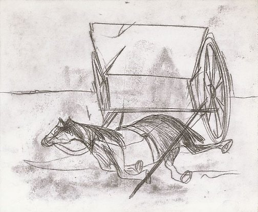 An image of Horse and dray by Sidney Nolan
