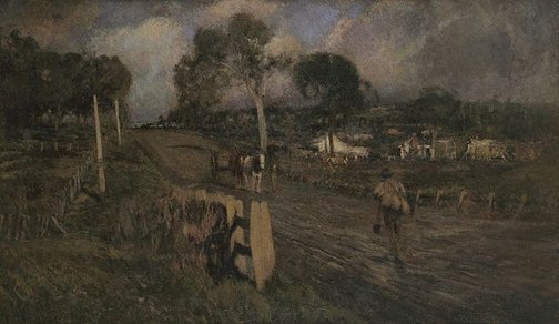 An image of Nearing the township by Walter Withers