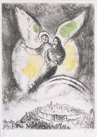 An image of Jerusalem's victory over Babylon, according to the prophecy of Isiah XIV, 1 - 7 by Marc Chagall