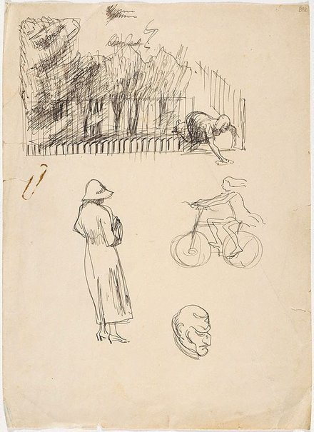 An image of (Woman cleaning, figure study and girl on bike) (London genre) by William Dobell