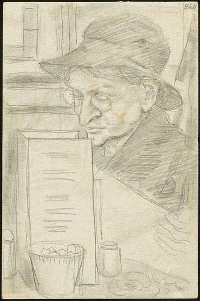An image of (Woman reading in cafe) (London genre) by William Dobell